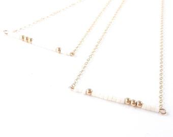 Short Necklace Boho Necklace delicate Bead necklace Tiny Gold necklace Delicate Necklace simple Layering Necklace