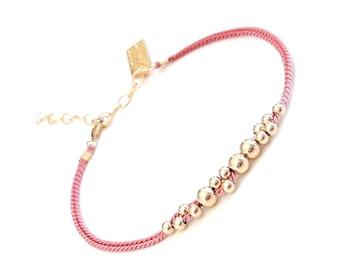 Beaded bracelet, Silk bracelet ,Tiny delicate bracelet, Layering bracelet