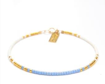 Delicate Thin Bracelet Something Blue Bracelet Blue Gold Wedding Bridesmaid Bracelets