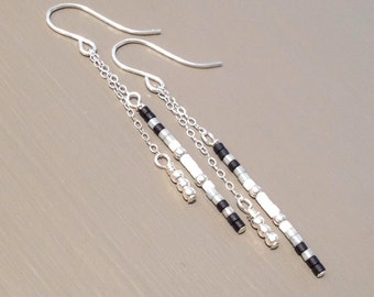 Sterling Silver Minimalist Earrings Dangle Silver Chain Earrings Modern Earrings Silver Geometric Earrings Stick Earrings Minimalist Jewelry