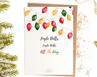 Printed Watercolor cards, Christmas, Jingle bells, Jingle All the way, Coloured Festoon Lights card, Happy Christmas card