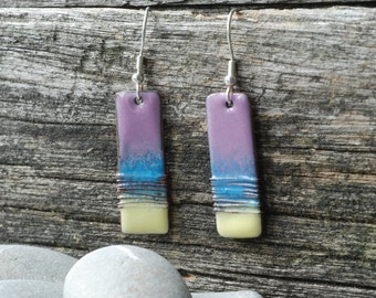 mauve and yellow copper and enamel earrings