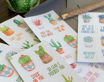 48 Cactus Pun Sticker Set Succulent Cactus Plant Humor // 48 pcs