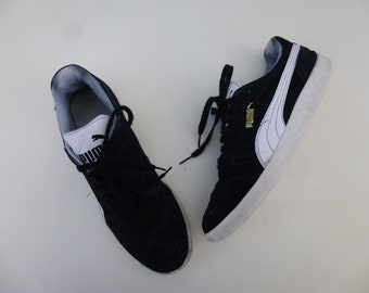 Vintage 90s Puma Sportlifestyle Trainers Shoes Mens 11 Black Suede White  Striped Lace-Up Classic Athletic Tennis Sneaker Hipster Glam Garb b0dae1426