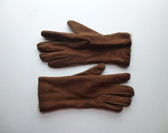 c86501769 Vintage 90s Genuine Suede Leather Rabbit Fur Winter Gloves S M Brown Top  Stitch Unisex Warm Cozy Glove Elastic Wrist Lining Boho Glam Garb