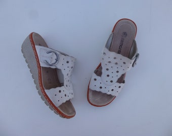3a5b416c Vintage 90s Remonte Dorndorf Suede Leather Perforation Medallion Wedge Mule  Sandals 9 40 Cream Grey Rubber Treads Open Toe Shoe Glam Garb