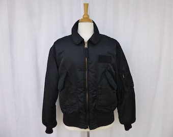adb0f4e47886 Vintage 70s 80s Alpha Industries CWU-45 Flight Bomber Jacket XL Black Satin  Rib-Knit Quilted Lining Zipped Pockets Hipster USA Glam Garb