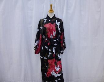 bd21589a3f Vintage 80s 90s Japanese Floral Bird Geisha Satin Kimono Robe OSFA Black  Pink Golden Silky Garden Flowers Asian Ethnic Boho Japan Glam Garb