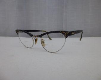 94b3040e80 Vintage 50s 60s Artcraft American Eyeglasses Reading Black Golden Lifted  Fox Model Frame Retro Cat-Eye Queen Eyewear Hipster USA Glam Garb