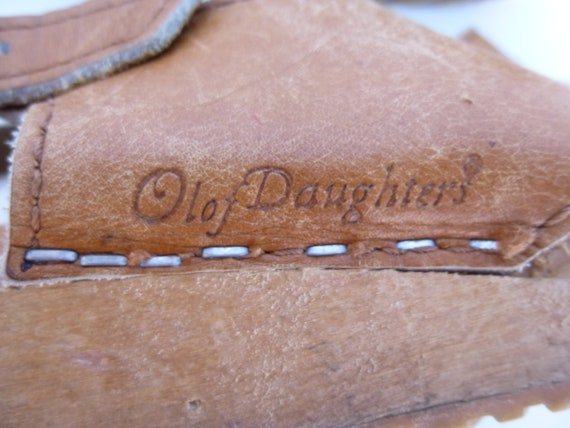 Vintage 70s Swedish Olof Daughters Leather Wedge Wood Sandals 8.5 Pinafore Rubber Treads Open Toe Shoe Sling Back Retro Sweden Boho Hipster