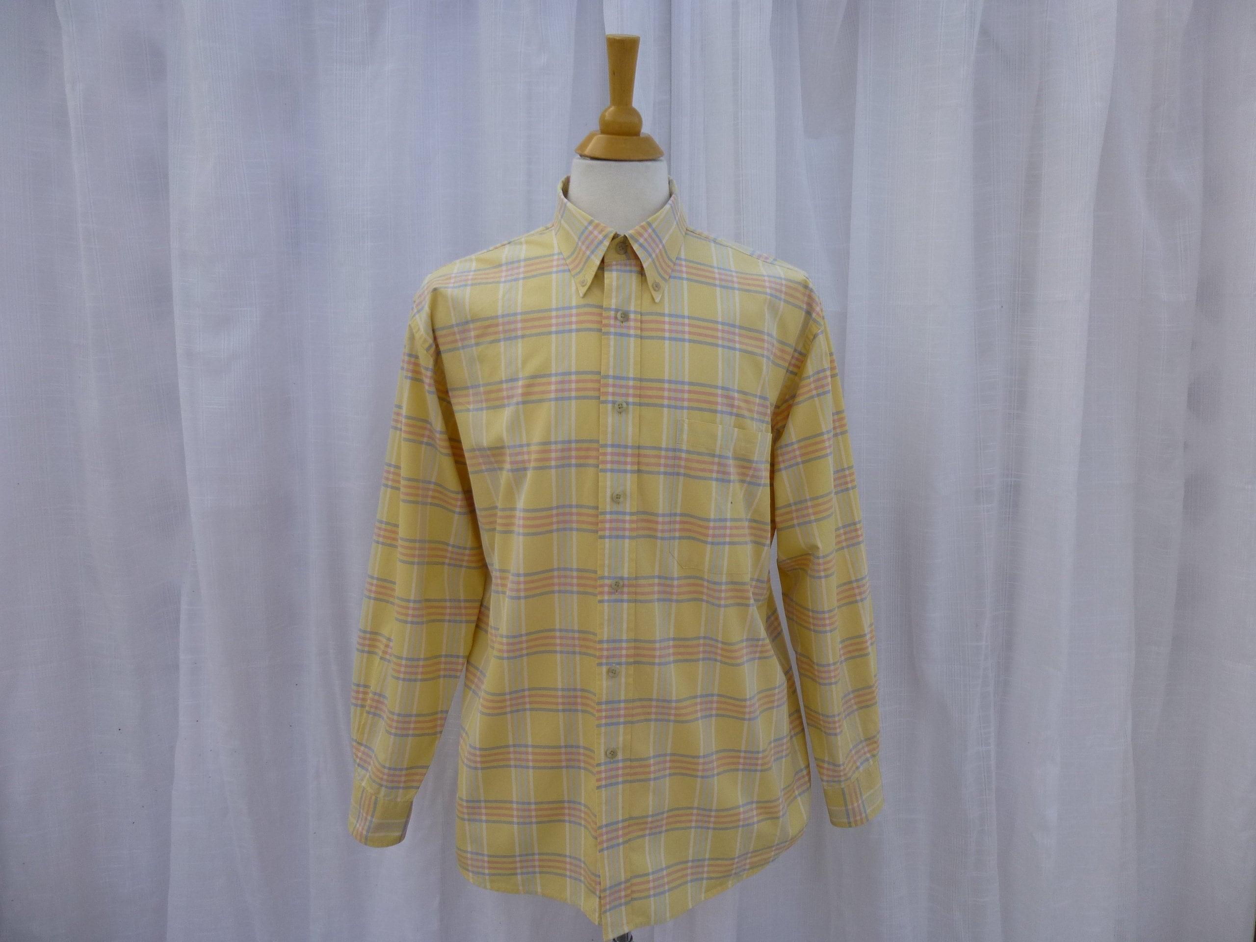 80s Dresses | Casual to Party Dresses Vintage 80S 90S Pendleton Woolen Mills Plaid 100 Cotton Dress Shirt Yellow Striped Check Button-Down Pocket  Read Description Glam Garb $5.00 AT vintagedancer.com
