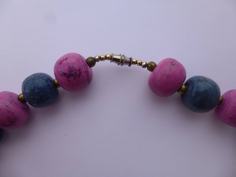 b3a6c530 Vintage 70s Gumballs Natural Glazed Ceramic Beaded Coker Necklace Indigo  Fuchsia Irregular Round Beads Golden Spacers Boho Hippie Glam Garb