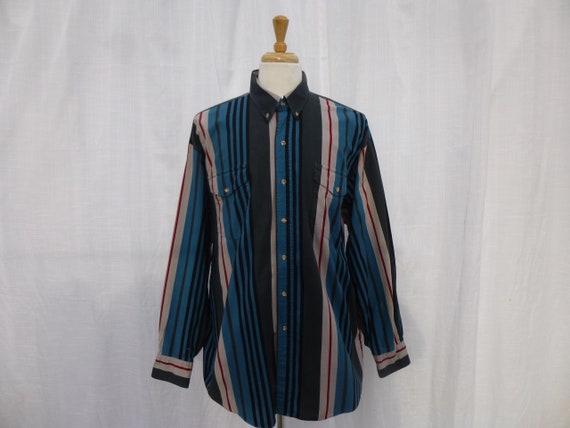 Vintage 80s 90s Wrangler 100/% Cotton Western Plaid Dress Shirt L Black Green Check Striped Long Sleeve Pockets Rodeo Riding Cowboy Glam Garb