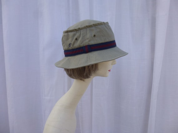 Vintage 90s Arnold Palmer Golf Sun Hat Beige Green Cotton Twill Firm ... fcfad3d3141