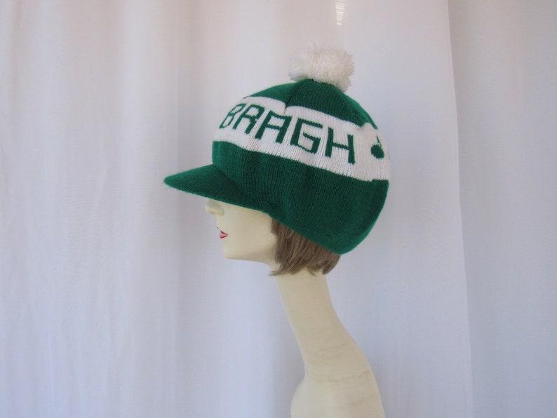 Glam Garb read description Vintage 80s 90s Erin Go Bragh Clover Logo Irish Sports Knitted Cap Pom-Pom Tamer Brim Hat Ireland Forever