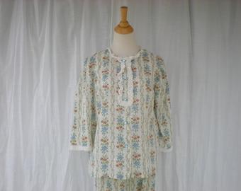 Vintage 60s Lacy Frill Bosom Floral Striped Night Shirt Long Pants Pajama Set 3/4 Sleeve Retro Feminine | read description | Glam Garb