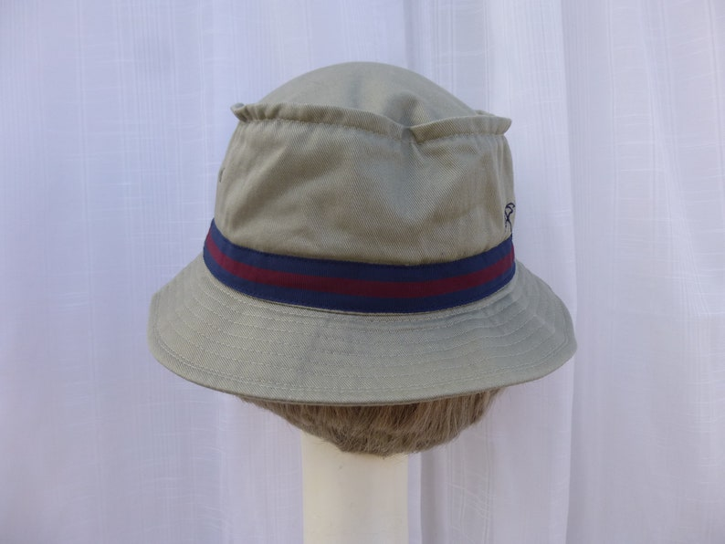 Vintage 90s Arnold Palmer Golf Sun Hat Beige Green Cotton Twill Firm ... a3def2b4c5c7