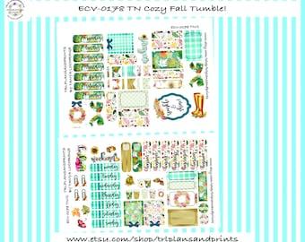 Cozy Fall Tumble! - Planner Stickers - Small Format Bundle - Personal/Pocket, TN, B6, Lights Planner, Makse, Plum, Journal [ECV-0178-TN]