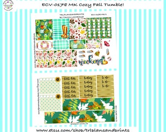 Cozy Fall Tumble! - Planner Stickers - Two Sheet Mini-Bundle - Erin Condren, Lights Planner LPA, Plum, Sadie's Stickers, Makse [ECV-0178-MK]