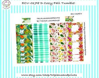 Cozy Fall Tumble! - Planner Stickers - Washi - Sadie's Stickers, Lights Planner LPA, Erin Condren, Plum, Makse, City Girl, B6 [ECV-0178-D]