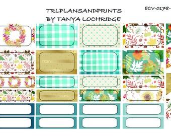 Cozy Fall Tumble! - Planner Stickers - Half & Quarter Box/Flags - Erin Condren, Lights Planner, Sadie's Stickers, Plum, TN, B6 [ECV-0178-C]