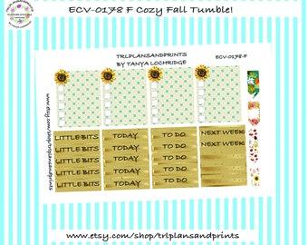 Cozy Fall Tumble! - Planner Stickers - Checklist/Headers/Flag - Plum, Erin Condren, Lights Planner, Sadie's Stickers, Makse, B6 [ECV-0178-F]