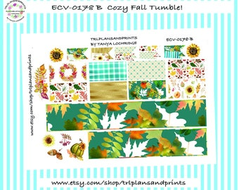 Cozy Fall Tumble! - Planner Stickers - Cottagecore - Bottom Washi/Half-Box/Flag - Erin Condren, Lights Planner, Plum, Sadie's [ECV-0178-B]