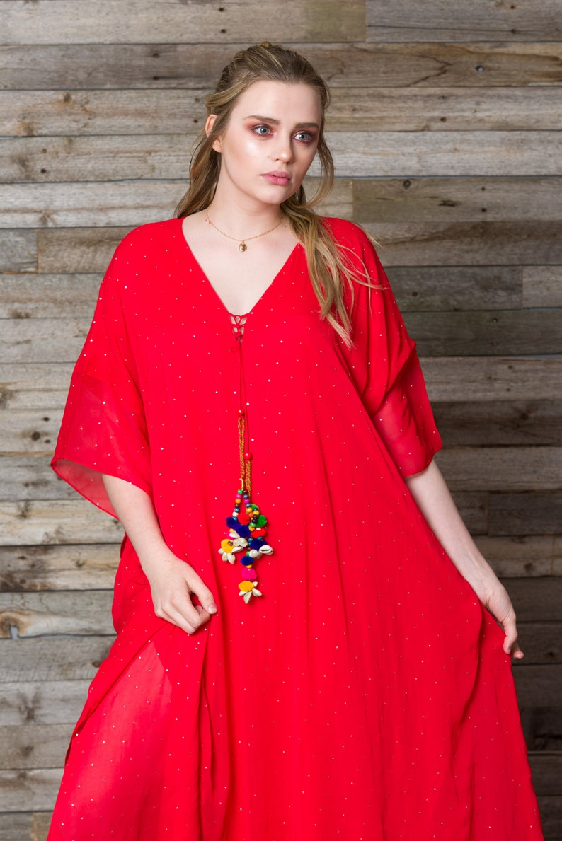 dde6d608bd Red kaftan long maxi dress with rhinestones dotted all over | Etsy