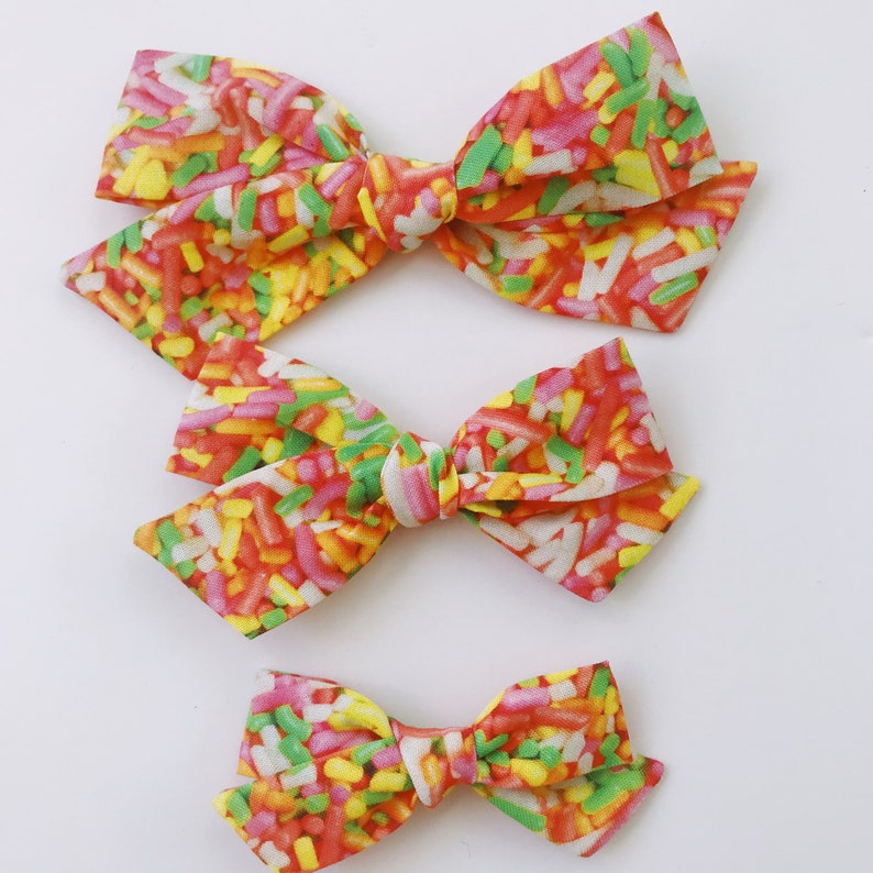 49a4b32f8968 Neon sprinkles bow ice cream party summer bow for baby kids