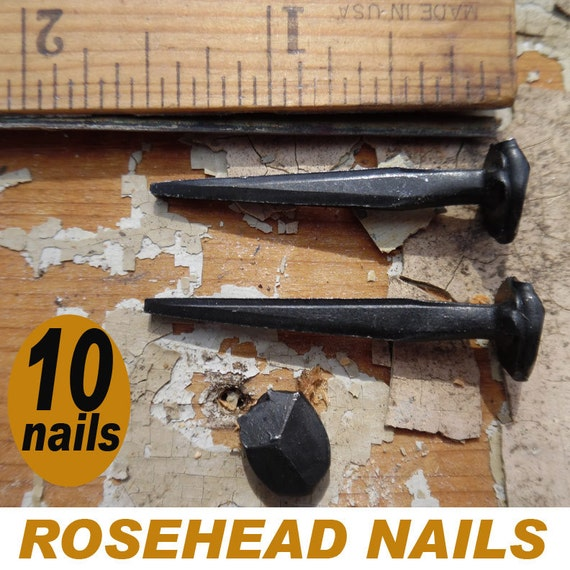 """Rosehead Square Wrought Head Nails 2/"""" /""""Patina/"""" 5 6d Vintage Historic"""