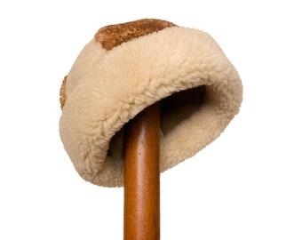 reversible shearling hat   sheepskin leather hat   vintage sheepskin   shearling panel hat