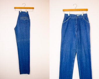 Vintage 1970s  Fence Post  Retro Pocket Trim Tapered Straight Leg 100%  Cotton True Denim Jeans by Arpeja Organically Grown   26 small a7827dfa1cd50