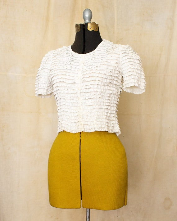 lace ruffle blouse   40s blouse   antique white b… - image 2