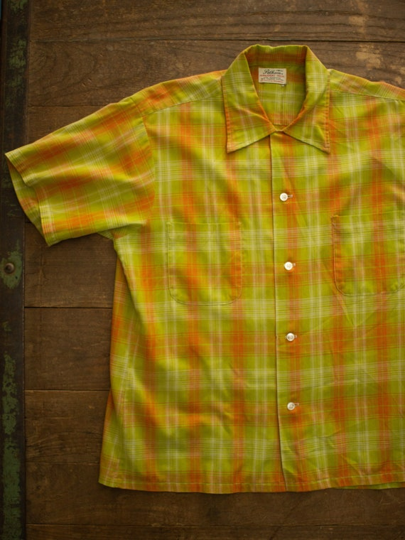 60s Loop Collar Shirt | Vintage Woven Shirt | Mens