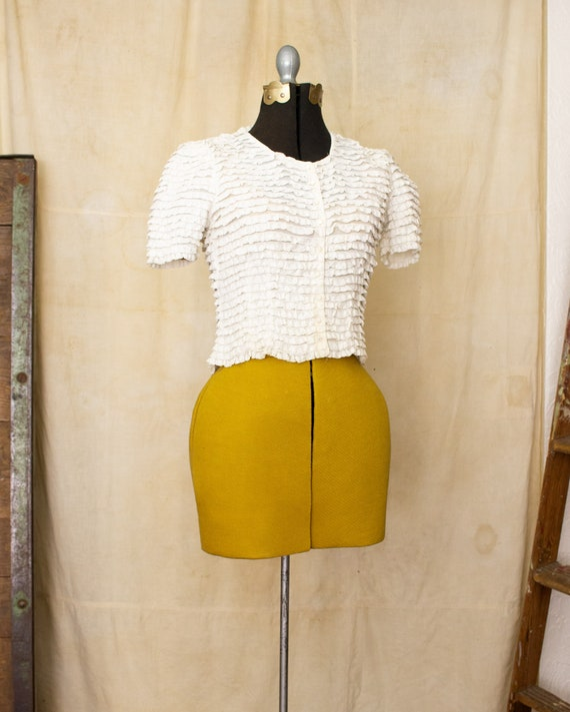 lace ruffle blouse   40s blouse   antique white b… - image 6