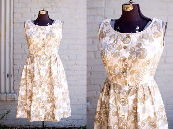 Champagne Rose Dress | 50s 60s Dress | Button Shir