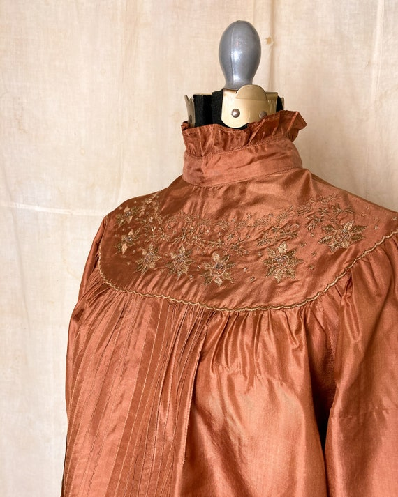 Silk Peasant Blouse | 70s Embroidered Top | Vinta… - image 7