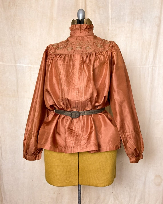 Silk Peasant Blouse | 70s Embroidered Top | Vinta… - image 4