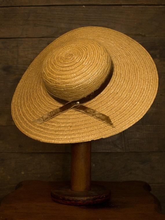 Vintage Cartwheel Hat | 50s Sun Hat | Womens Straw