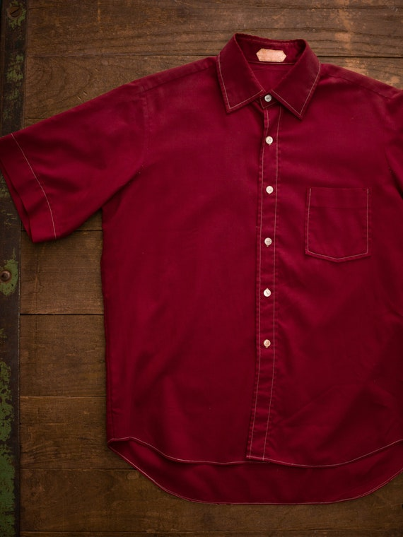 Vintage Cotton Shirt | 50s Poplin Shirt | Maroon M