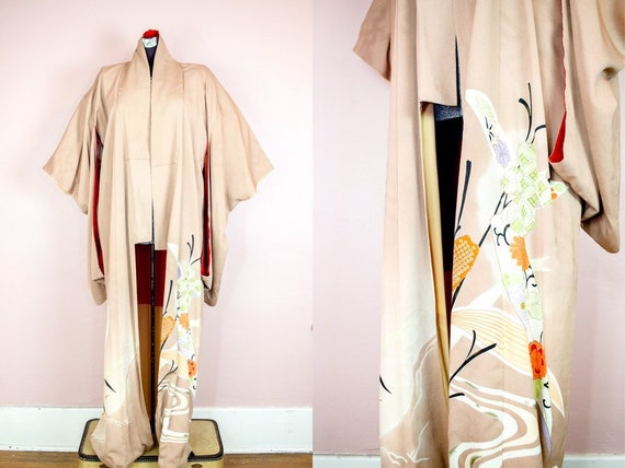 Japanese Vintage Kimono | Hand Painted Silk | Furi