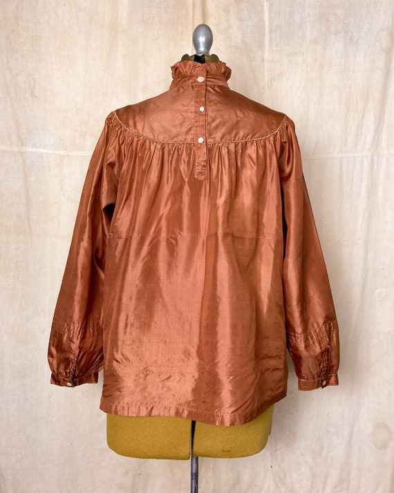 Silk Peasant Blouse | 70s Embroidered Top | Vinta… - image 5