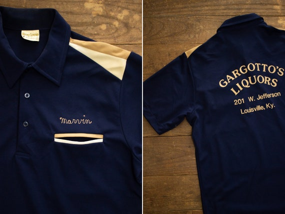 Vintage Bowling Shirt   70s Polyester Shirt   Shor