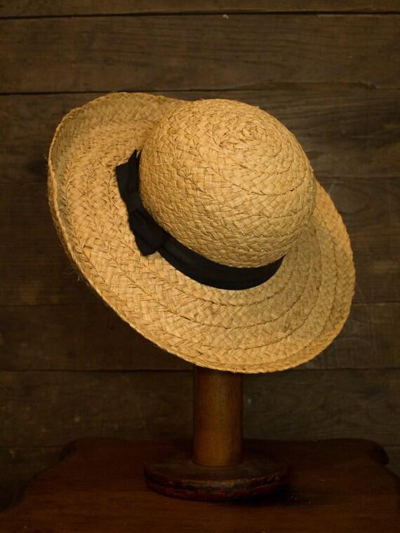 Woven Straw Hat | Round Sun Hat | Vintage Garden H