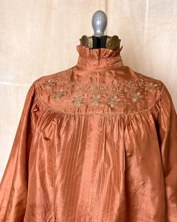Silk Peasant Blouse | 70s Embroidered Top | Vinta… - image 8