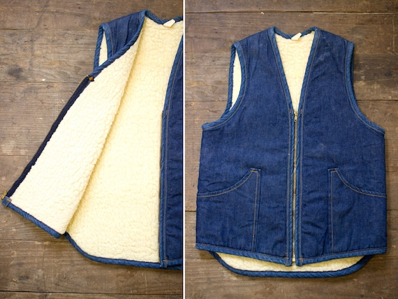 Sherpa Jean Vest | 60s Denim Vest | Zipper Hunting