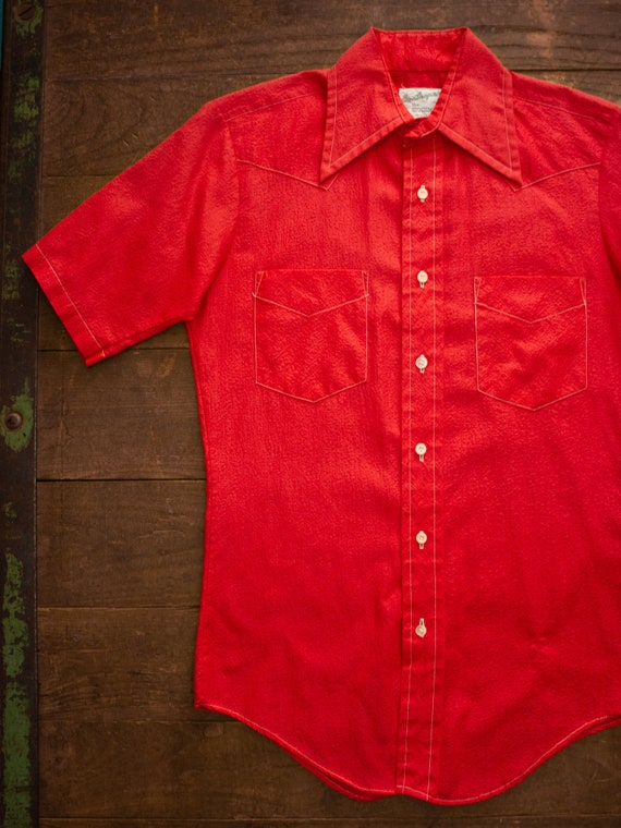 70s Western Shirt | Textured Cotton Polyester | Re