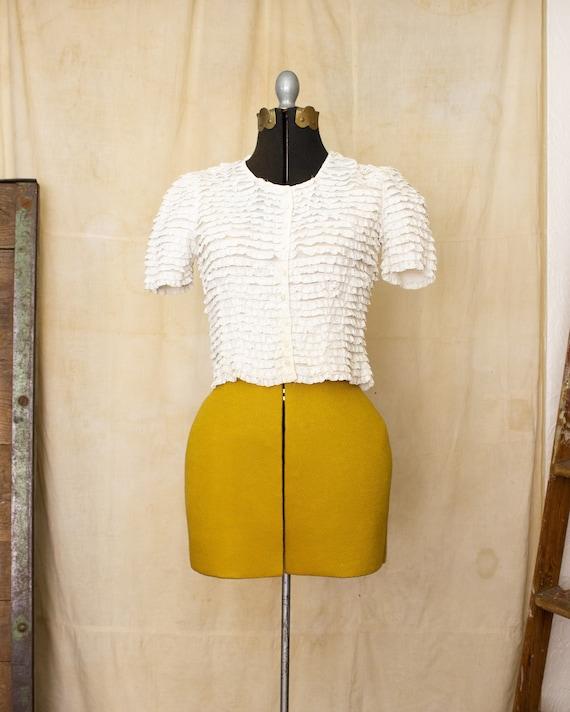 lace ruffle blouse   40s blouse   antique white b… - image 5