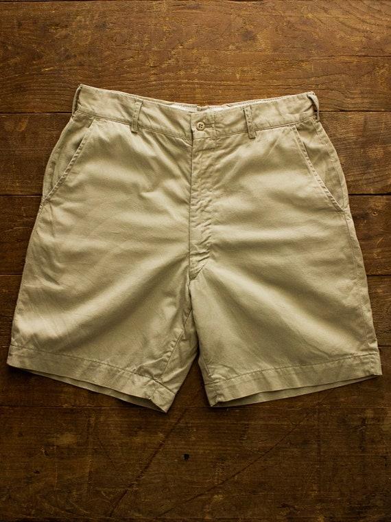 Vintage Military Khaki Shorts | 60s Mens Shorts |