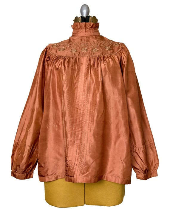 Silk Peasant Blouse | 70s Embroidered Top | Vinta… - image 1